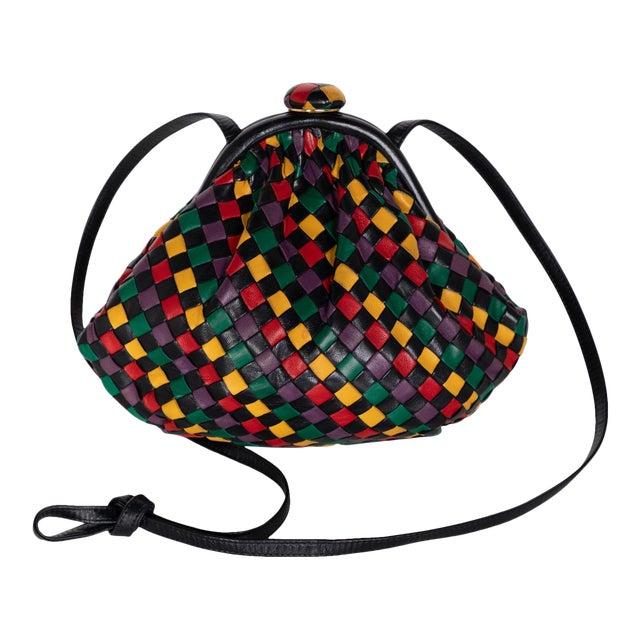 Vintage Bottega Veneta Intrecciato Harlequin Shoulder Bag For Sale