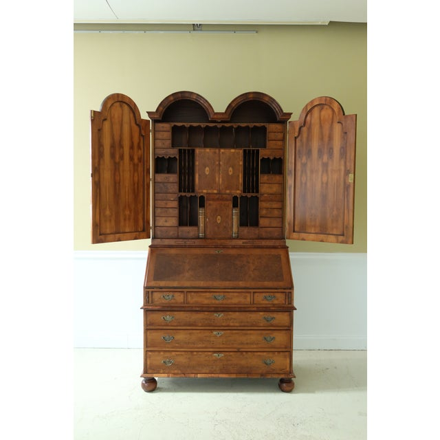 English Made Vintage George III Double Bonnet Walnut Secretary Desk For Sale In Philadelphia - Image 6 of 13