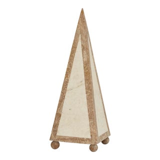 1990s Contemporary Marquis Collection Tall Decorative Tessellated Stone Pyramid, - 15""