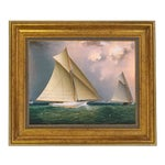 """James E Buttersworth Mischief and Gracie Schooner Race Reproduction Oil Painting. Framed to 11-1/2"""" X 13-1/2"""""""