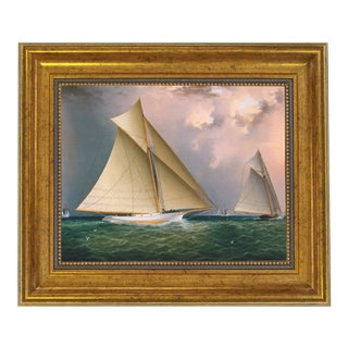 "James E Buttersworth Mischief and Gracie Schooner Race Reproduction Oil Painting. Framed to 11-1/2"" X 13-1/2"" For Sale"
