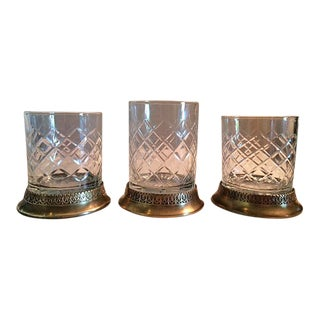 Mid-Century Cut Glass & Brass Candle Holders - Set of 3