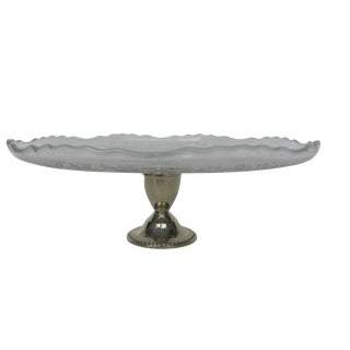 Frosted Etched Glass Cake Stand