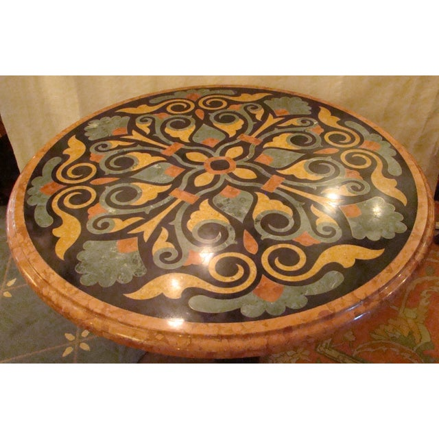 Italian Pietra Dura Marble Table For Sale - Image 4 of 9