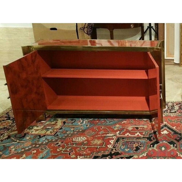 1970s Mastercraft Chinoiserie Style Faux Tortoise Commode With Red Lacquer Interior For Sale - Image 5 of 9