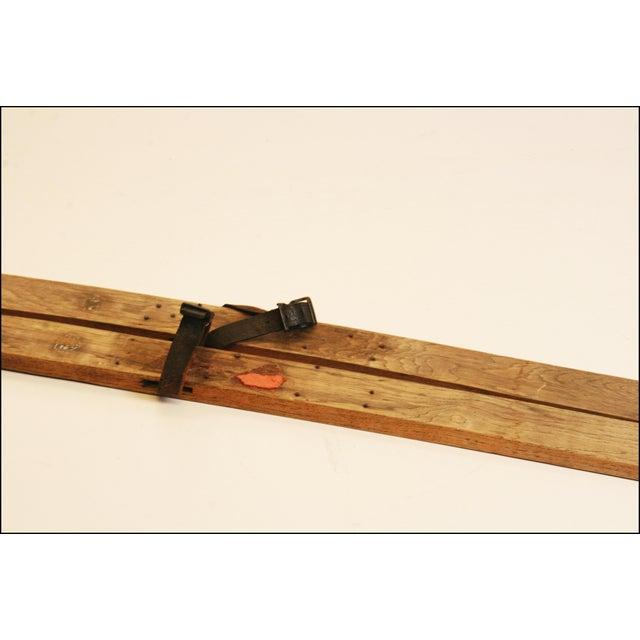 Vintage Rustic Wood Snow Skis - Pair - Image 3 of 11