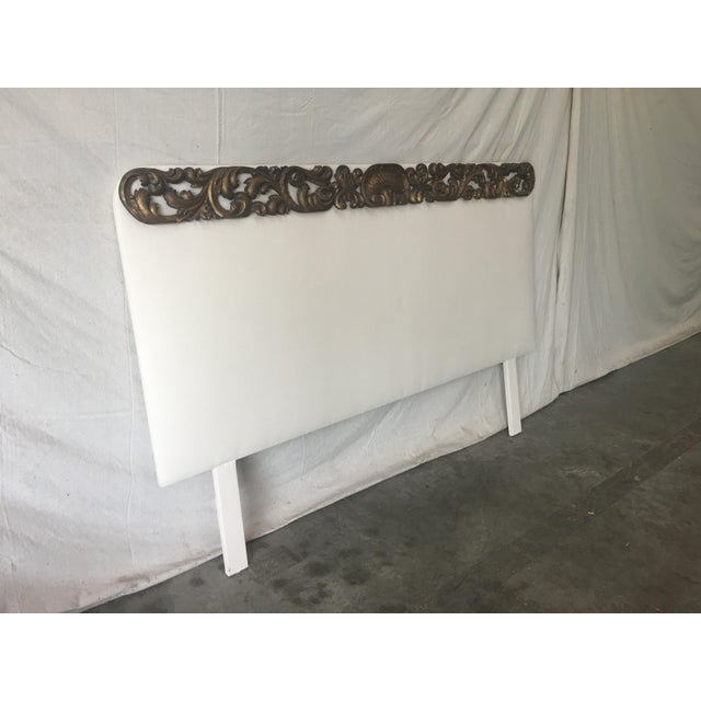 White Italian Upholstered Headboard With 19th C Gilt Fragment Accents For Sale - Image 8 of 11