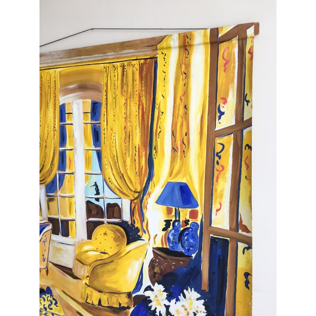 Cheerful French Salon Scene in Blue & Yellow - Image 5 of 10