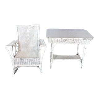 Antique Victorian Wicker Table & Rocking Chair - A Pair For Sale
