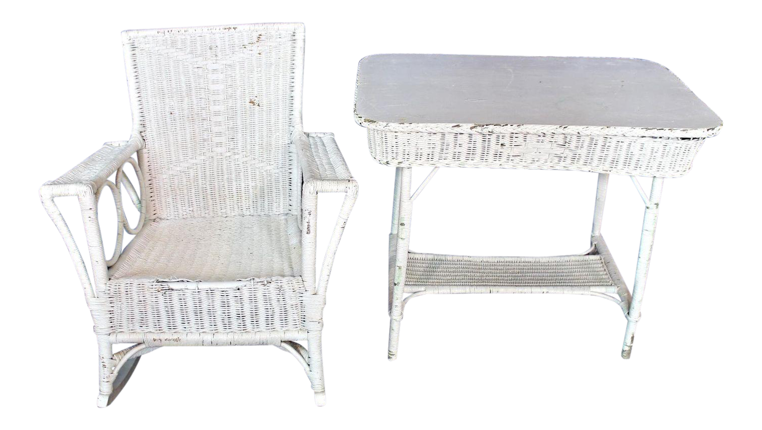 Antique Victorian Wicker Table U0026 Rocking Chair   A Pair