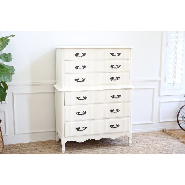 Shabby Chic French Provincial Highboy Dresser - Image 3 of 6