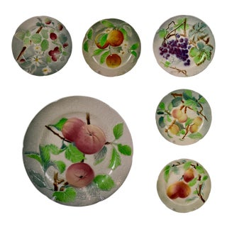 C. 1900 St. Clement French Faïence Fruit Plates, S/6 (A) For Sale