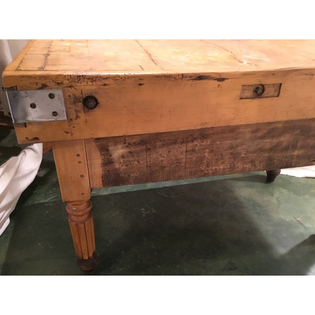 19th C. French Carved Butcher Block Table For Sale - Image 9 of 13