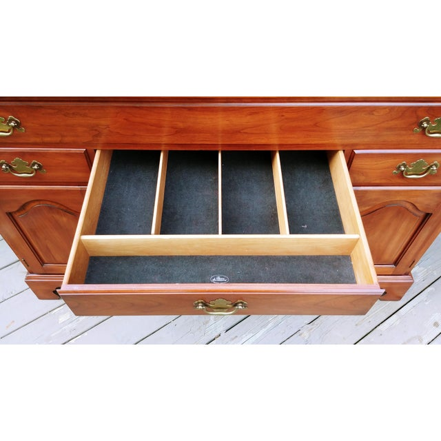 Brass Frederick Duckloe & Bros Solid Wild Black Cherry Sideboard & China Cabinet Hutch For Sale - Image 8 of 13