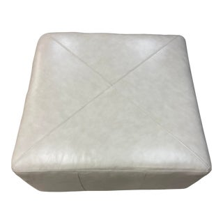 Miles Leather Cocktail Ottoman For Sale