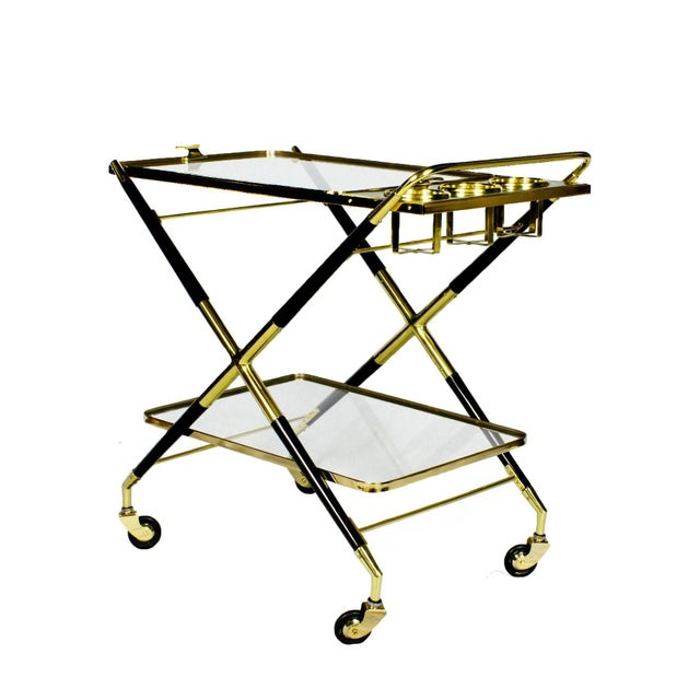 1950s Bar Cart with Tray by Cesare Lacca, Beech, Brass and Glass, Italy For Sale - Image 6 of 11