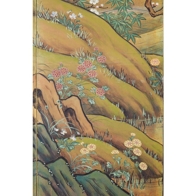 Green Japanese Edo Style Four-Panel Spring Landscape Screen For Sale - Image 8 of 13