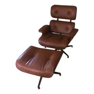 1970s Vintage Plycraft Camel Lounge Chair & Ottoman For Sale