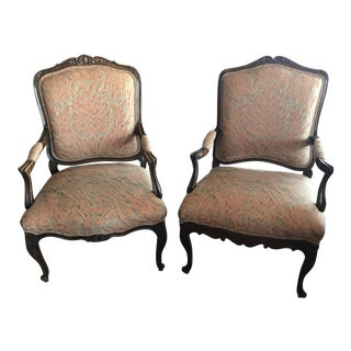 French Bergere Chairs with Fortuny Fabric - A Pair For Sale