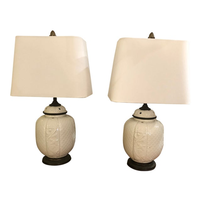 1940s Vintage Chinese White Ceramic Table Lamps- A Pair For Sale