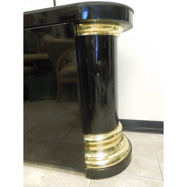 Hollywood Regency Masculine and Sexy Black and Brass Vintage 1970s Sideboard For Sale - Image 3 of 6