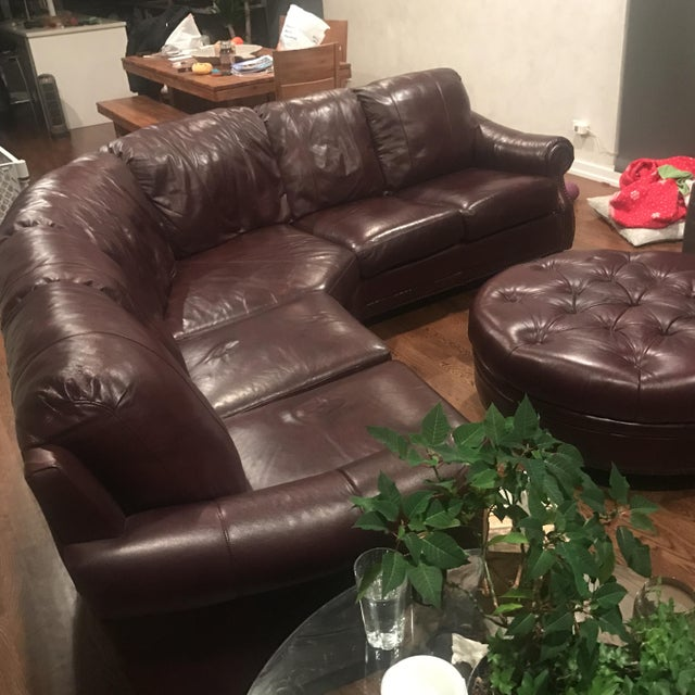 Italian Leather Sectional & Ottoman - Image 4 of 10