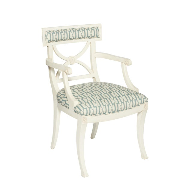 Early 21st Century Schumacher Westminster Belvedere Peacock Blue Hand-Carved Beechwood Armchair For Sale - Image 5 of 9