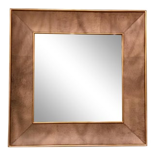 Studio a Home Modern Shagreen Leather Chocolate Brown Churchill Wall Mirror For Sale