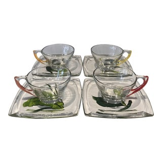 1950s Vintage Gay Fad Studios for Hazel Atlas Geometrical Glass Cups and Saucers Set- 8 Pieces For Sale