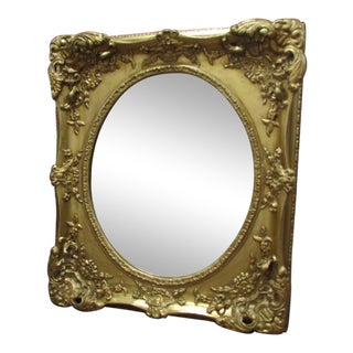 Early 20th Century Vintage Wood Rococo Ornate Baroque Gesso Gilt Beveled Mirror For Sale