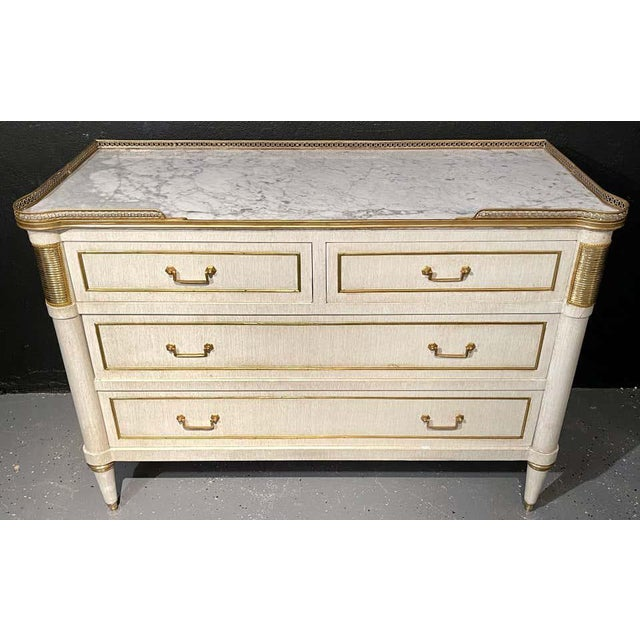 Pair of Jansen Style Marble Top Commodes / Nightstands Painted Linen Finished For Sale - Image 12 of 13