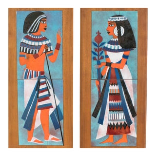 Judith Daner Midcentury Enamel on Copper Artwork Wall Panel Egyptians, a Pair For Sale