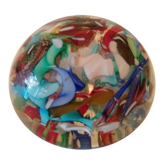 Vintage Confetti Themed Murano Blown Glass Paperweight For Sale