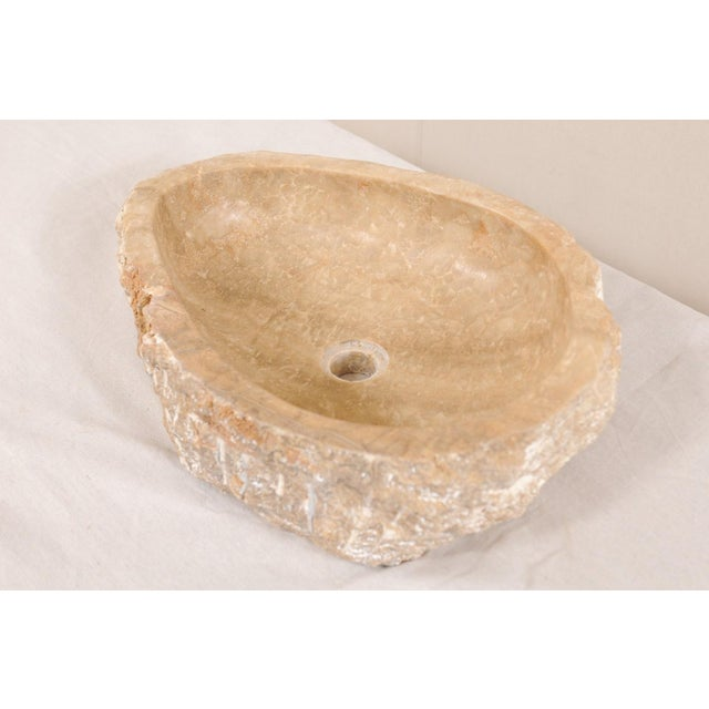 Stone Natural Carved Onyx Sink Basin in Taupe Color For Sale - Image 7 of 12