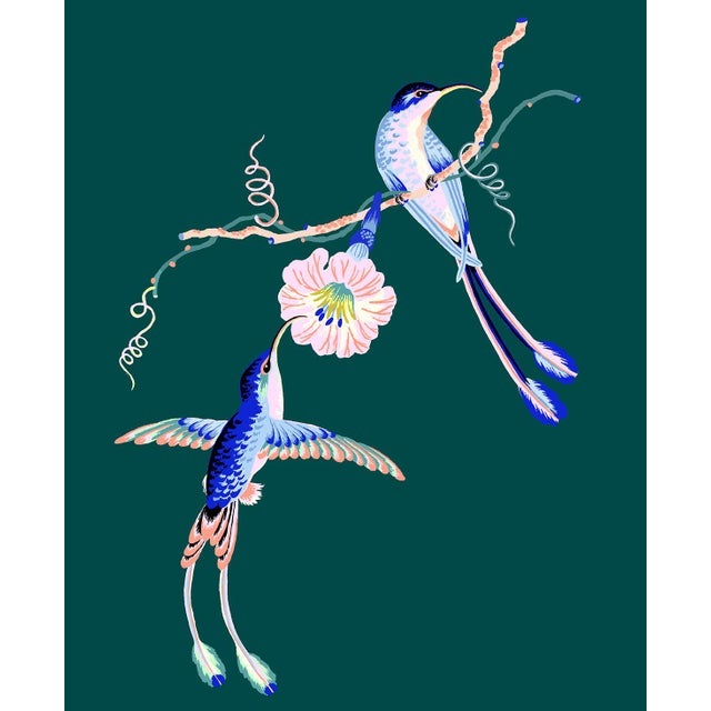 Contemporary Hummingbird Giclée Print in Teal For Sale