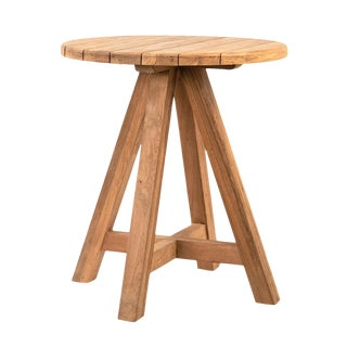Round Salvaged Teak Bar Table For Sale