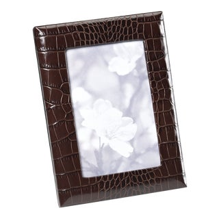 4 X 6 Embossed Brown Croc Photo Frame For Sale