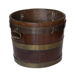 Early 18th Century Georgian Brass Mounted Bucket with Copper Liner For Sale
