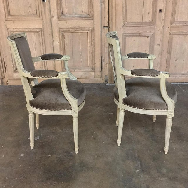 Wood 19th Century French Louis XVI Painted Armchairs - a Pair For Sale - Image 7 of 13
