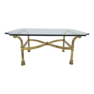 Hollywood Regency Italian Brass Scroll Coffee Table For Sale