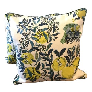 "Schumacher ""Citrus Garden"" 24"" Pillows With Betwixt Backs - A Pair For Sale"