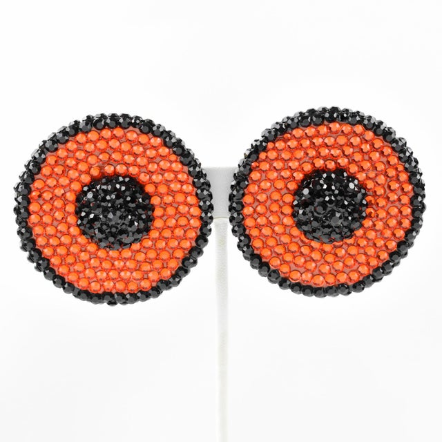 American Richard Kerr Clip Earrings Black and Orange Jeweled Paved For Sale - Image 3 of 7