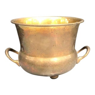 1950s Brass Handled Urn Planter For Sale