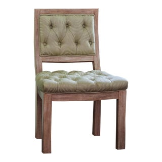 Green Tufted Side Chair For Sale