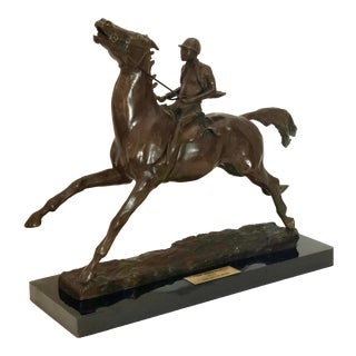 """1996 Bronze """"The Runaway"""" Horse & Jockey on Marble Base Signed by Iona Malcolmson For Sale"""