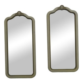 French Distressed Painted Pair of Wall Bathroom Vanity Mirrors by Lenoir 2225 For Sale