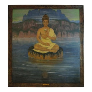 Late 19th Century Antique Henri Caro Devaille Sitting Budda Painting For Sale