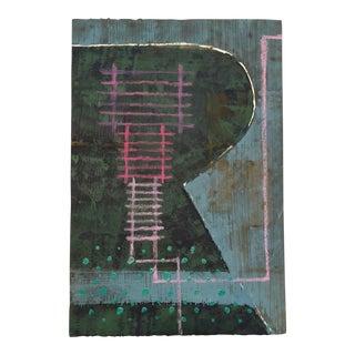 1980s Vintage Mariko Nutt Abstract Acrylic Monoprint For Sale