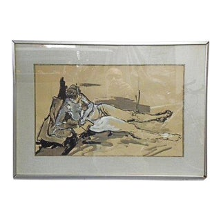 Vintage Mid Century Charcoal and Water Color Wall Art Painting For Sale