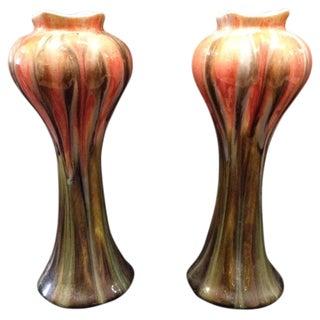 Pair Art Nouveau Style Belgian Vases For Sale